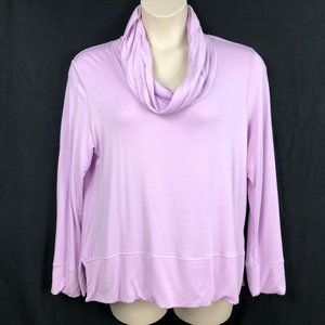 Green Tea Lilac Purple Cowl Neck Long Sleeve Top